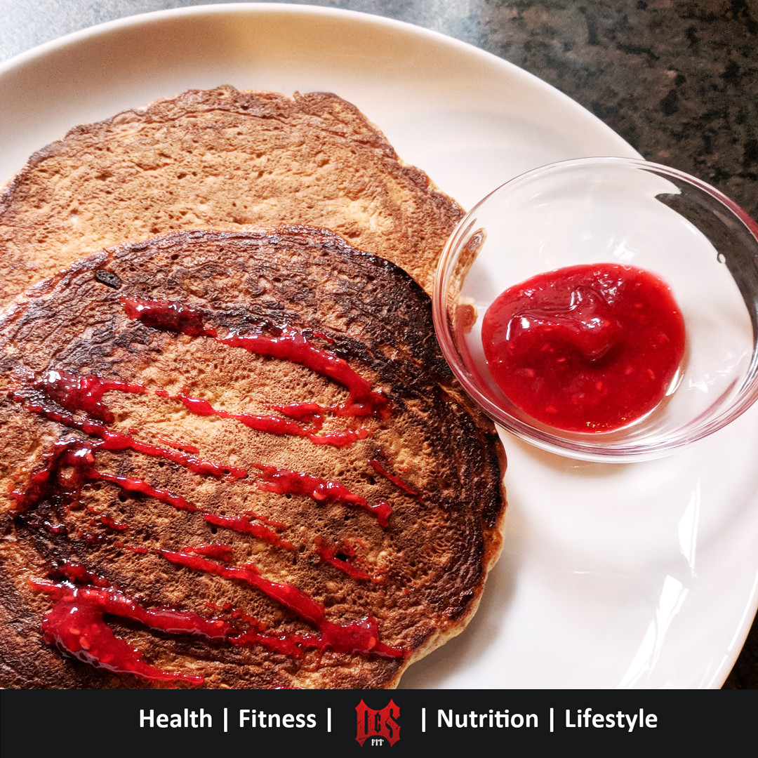 Protein Pancakes with all natural raspberry jam topping